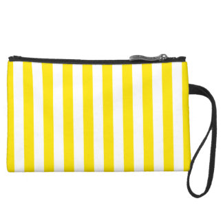Vertical Yellow Stripes Suede Wristlet