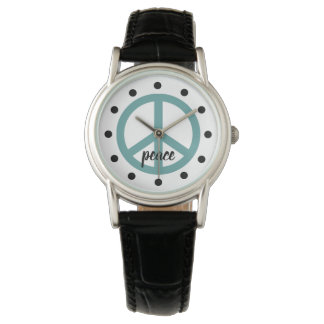 Very Aqua Peace Symbol Personalized Watch
