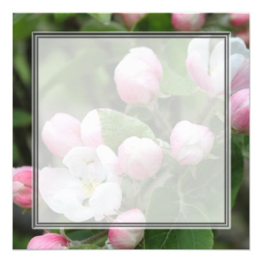 Very beautiful spring, summer pink apple flowers. personalized invitation