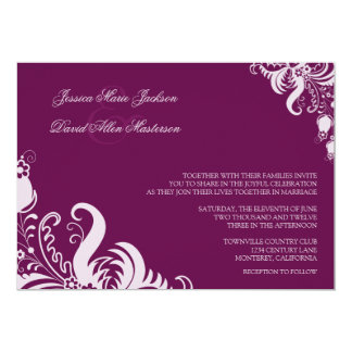 Very Berry Purple Floral Accent Wedding Invitation