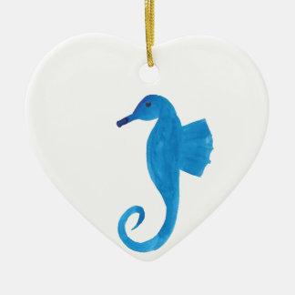 Very Blue Sea Horse Ceramic Heart Decoration