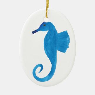 Very Blue Sea Horse Ceramic Oval Decoration