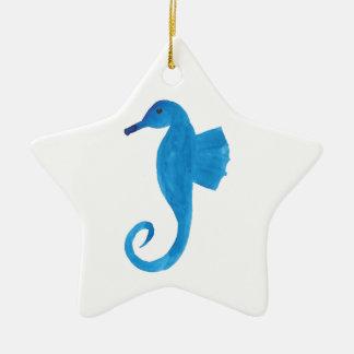 Very Blue Sea Horse Ceramic Star Decoration