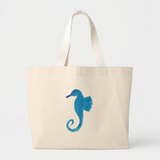 Very Blue Sea Horse Large Tote Bag