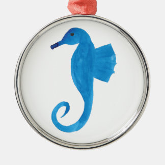 Very Blue Sea Horse Silver-Colored Round Decoration