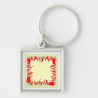 Very bright red and  light yellow design peppers key ring
