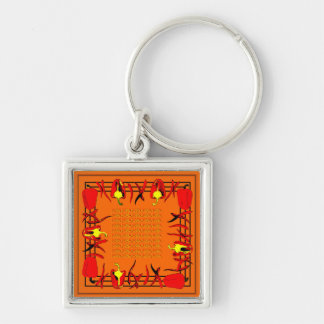 Very bright red and orange design peppers key ring