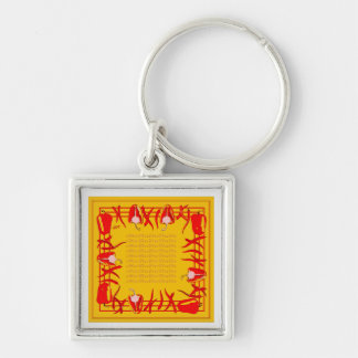 Very bright red and  yellow design peppers key ring