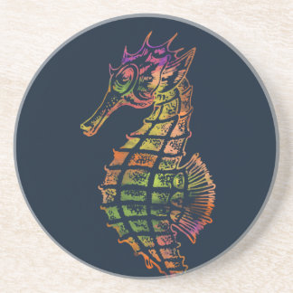 Very colourful seahorse art coaster
