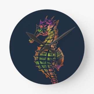 Very colourful seahorse art round clock