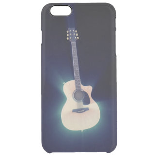 Very Cool Art Blue Glowing Guitar Clear iPhone 6 Plus Case