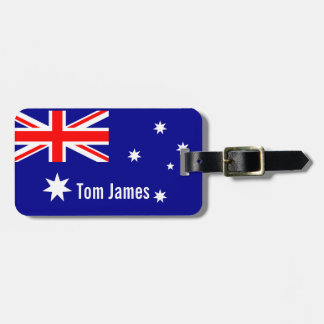 Very Cool Flag Of Australia With Monogram Luggage Tag