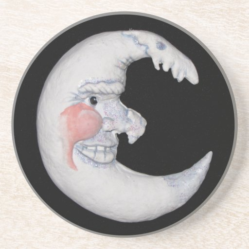 Very Cool Man On The Moon Round Figure Coaster