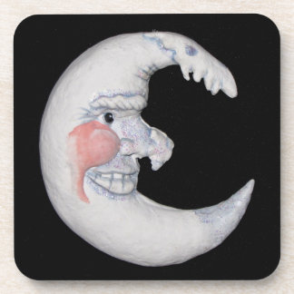 Very Cool Man On The Moon Round Figure Coaster Set