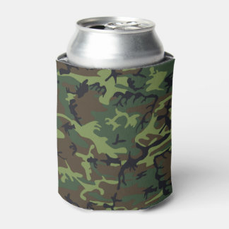 Very Cool Military Style woodland Green Camo Can Cooler
