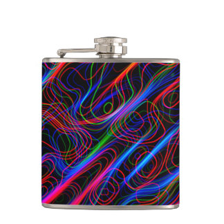VERY COOL Neon Multicolored Curved Lines Hip Flask
