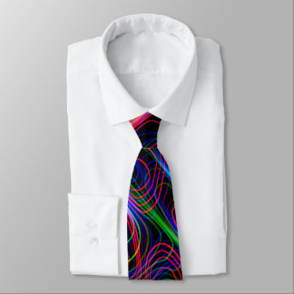 VERY COOL Neon Multicolored Curved Lines Tie