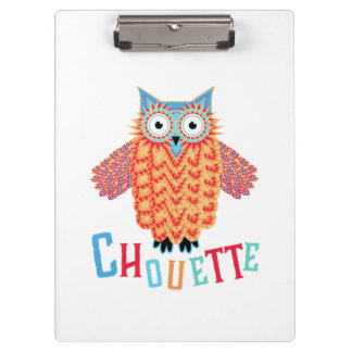 Very Cool Owl French Pun Clipboard