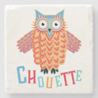 Very Cool Owl French Pun Stone Coaster