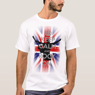 Very Cool U.K Flag Keep calm and Rock on T-Shirt