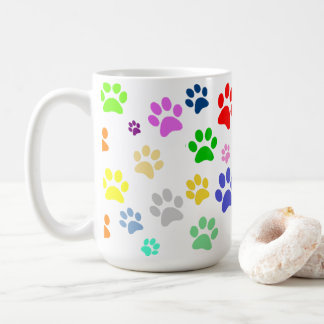 Very Cute Colorful Pet Paw Print Pattern Coffee Mug