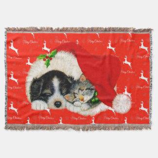 Very Cute Dog Cat and Santa Hat Christmas Throw Blanket