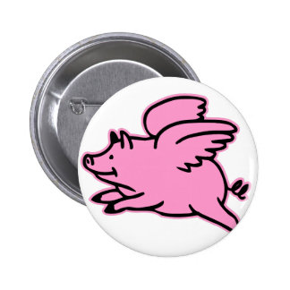 Very Cute Flying Pink Pig Pinback Buttons