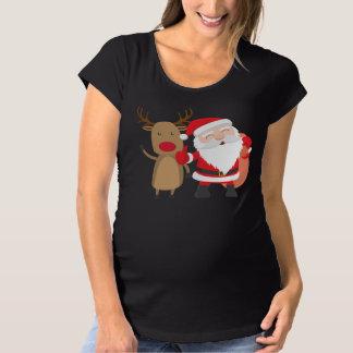 Very Cute Santa Claus and Reindeer Maternity Shirt