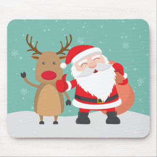 Very Cute Santa Claus and Reindeer | Mousepad