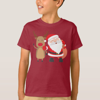 Very Cute Santa Claus and Reindeer   Shirt