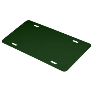 Very Dark Green colored License Plate