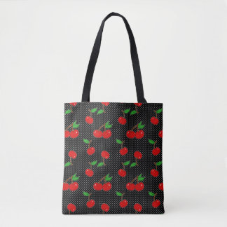 Very Dotty Cherry in Black Tote Bag