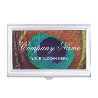 Very elegant colorful peacock feather custom business card holder