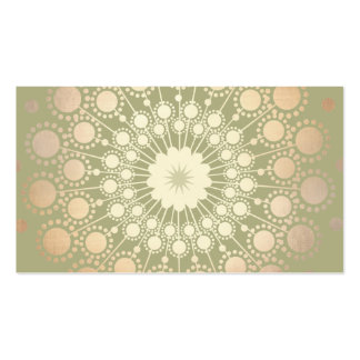 Very Elegant Shiny Gold Ornate Circle Motif Green Pack Of Standard Business Cards