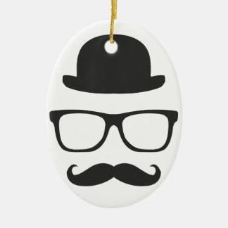 Very English Moustache Ceramic Ornament