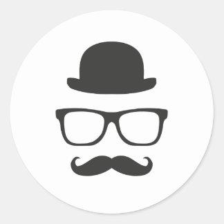 Very English Moustache Round Sticker