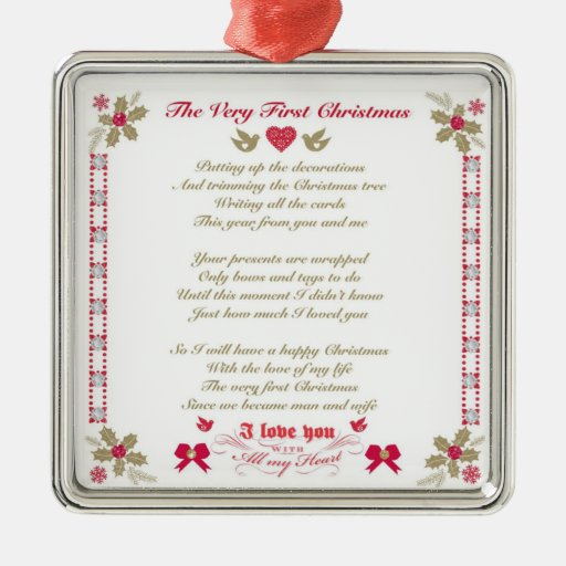 Very First Christmas Husband/Wife Sq Ornament