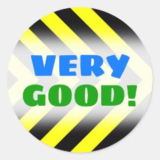 """VERY GOOD!"" + Black & Yellow Chevron-Like Pattern Classic Round Sticker"