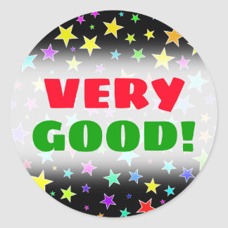"""VERY GOOD!"" + Fun, Colorful Stars Pattern Sticker"