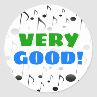 """VERY GOOD!"" + Many Musical Notes Pattern Sticker"