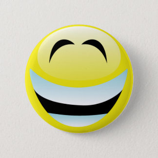 VERY HAPPY SMILEY FACE 6 CM ROUND BADGE