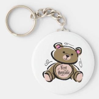Very Huggable Teddy Bear Basic Round Button Key Ring