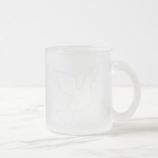 Very Light Blue Peace Dove 10 Oz Frosted Glass Coffee Mug