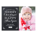 Very Merry Christmas Chalkboard Holiday Photo Card Personalised Invite