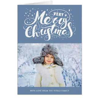 Very Merry Christmas Greeting Card | Slate Blue