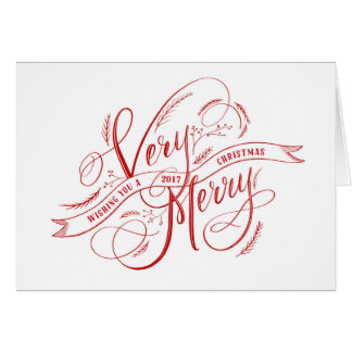 Very Merry Christmas Hand Lettering Red and Photo Card