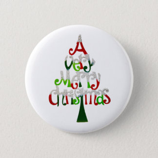 Very Merry Christmas Tree 6 Cm Round Badge