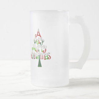 Very Merry Christmas Tree Frosted Glass Beer Mug