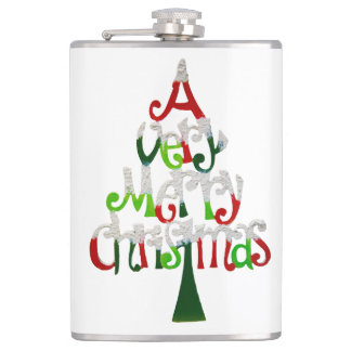 Very Merry Christmas Tree Hip Flask