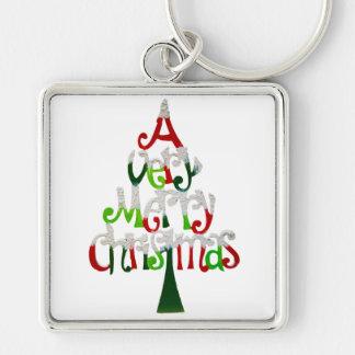 Very Merry Christmas Tree Key Ring